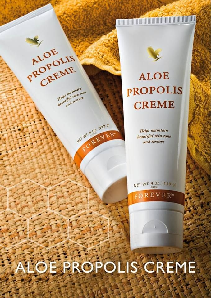 ALOE PROPOLIS CREME Excellent as a skin moisturiser and conditioner. I have seen excellent results with acne, rosacea and eczema when combined with the drinking aloe gel. As the aloe gel improves your gut health, the effects are seen on the skin, hair and nails. The propolis creme contains stabilised aloe vera gel, bee propolis, chamomile,Vit A and Vit E  http://foreverluminous.flp.com