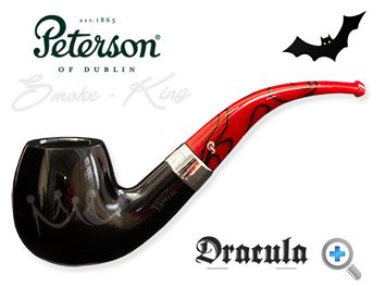 When the Dracula 068 pipe by Peterson was released in 2011 they sold out in the United Kingdom within hours. You really can see why. Sitting beautifully between the flawless black ebony bowl and the striking red and black marbled fishtail mouthpiece, there is a perfectly proportioned nickel band with the Dracula name etched on to it. Peterson has entered the dark side but the Dracula pipe is a handsome, well-balanced piece of art.