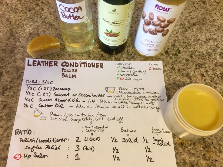 MY Organic LEATHER POLISH / CONDITIONER / Balm: Recipe to MAKE it at home all in the Microwave, all in 1 cup. Other uses: Pleather, canvas (for oil), even metals and lip balm and wood.  Based off of:  http://www.instructables.com/id/How-To-Make-High-Grade-Natural-Beeswax-Leather-Pol/