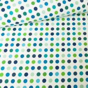 Kropki niebiesko-zielone Tkanina Bawełniana :Nadruk Cyfrowy