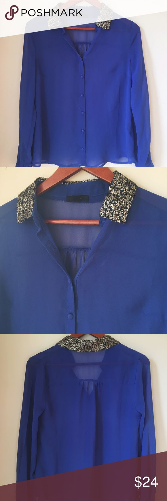 """Royal blue sheer blouse Accented with gold sequined collar. Brand is """"edge"""" Urban Outfitters Tops Blouses"""