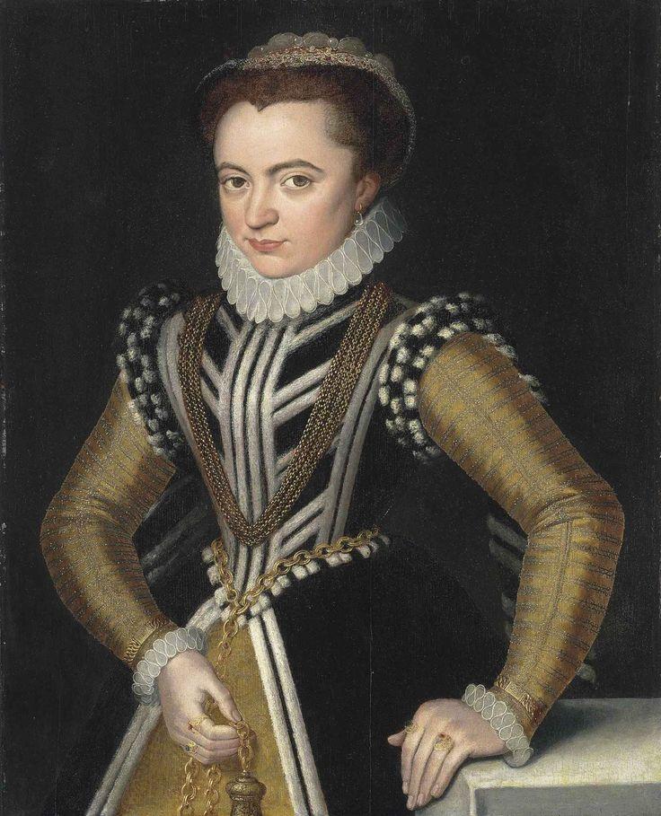Portrait d'une dame dans une robe noire avec des garnitures blanches de fourrure et un jupon or et manches, avec un diffuseur de parfun dans sa main droite attachée à un Chatelaine autour de sa taille, son repos de la main gauche sur une table drapée, entourage de Pieter Pourbus