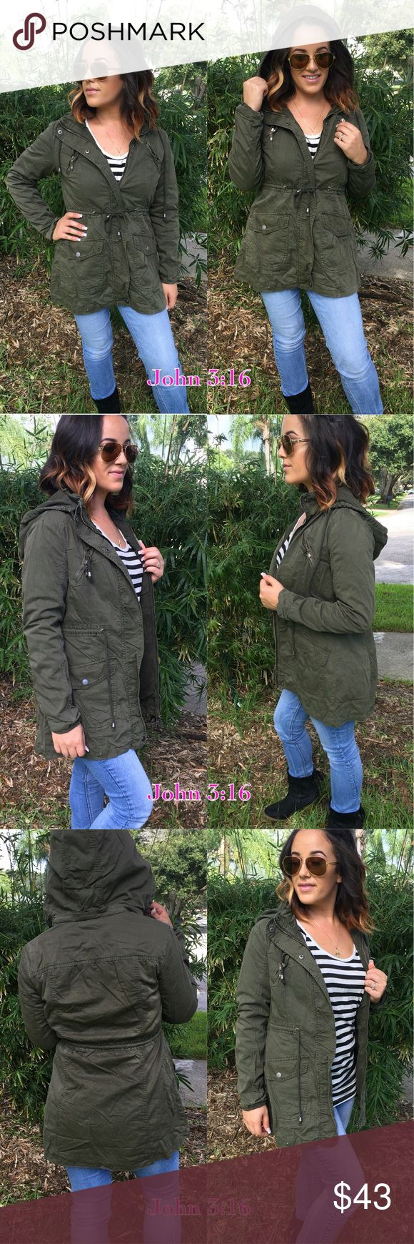 Olive utility jackets Olive utility jacket is 100% cotton and thick enough to keep you warm during the cool fall days. TTS - Price is firm - S(2/4) M(6/8) L(10/12) XL(14) Jackets & Coats Utility Jackets