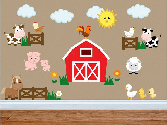 Wall Decals for Kids Bedroom Farm Animal Wall by YendoPrint