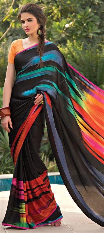 #Partywear #multicolor #IndianFashion #Prints #saree