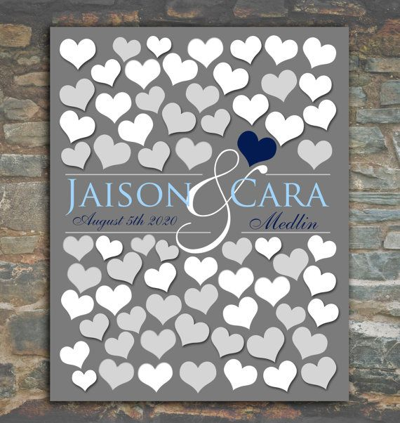 68 Guests 16x20 Wedding Guest Book Alternative   Bridal Shower Gift   Engagement Gift   Anniversary Gift   Wall Hang Art   Bride Groom_01