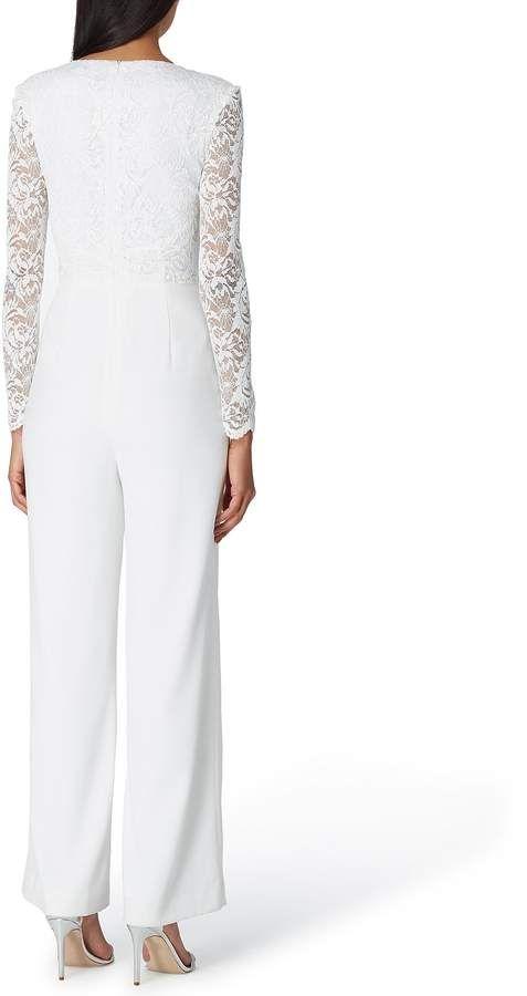 d2090d092b0e Tahari ASL Sequin Lace Illusion Sleeve Surplice Jumpsuit  Sequin Lace Tahari