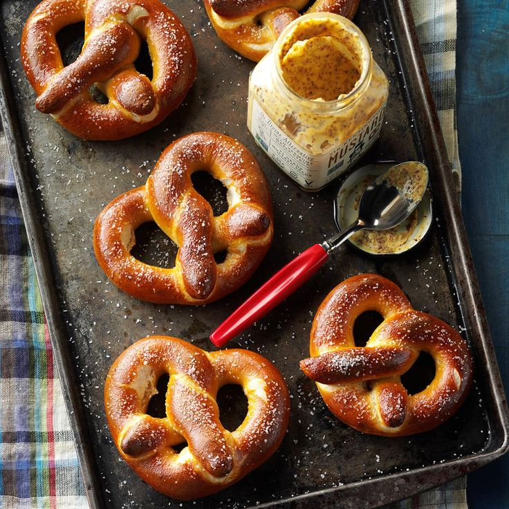 Soft Giant Pretzels Recipe -My husband, friends and family love these soft, chewy pretzels. Let your machine mix the dough, then all you have to do is shape and bake these fun snacks. —Sherry Peterson, Fort Collins, Colorado
