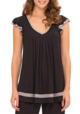 Ellen Tracy Women's Flutter Sleeve Top - Black - Xl
