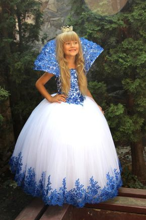 White Blue Flower Girls Dress Birthday Party Tulle Bridesmaid Blue and White The Snow Queen's Dress by Butterflydressua on Etsy