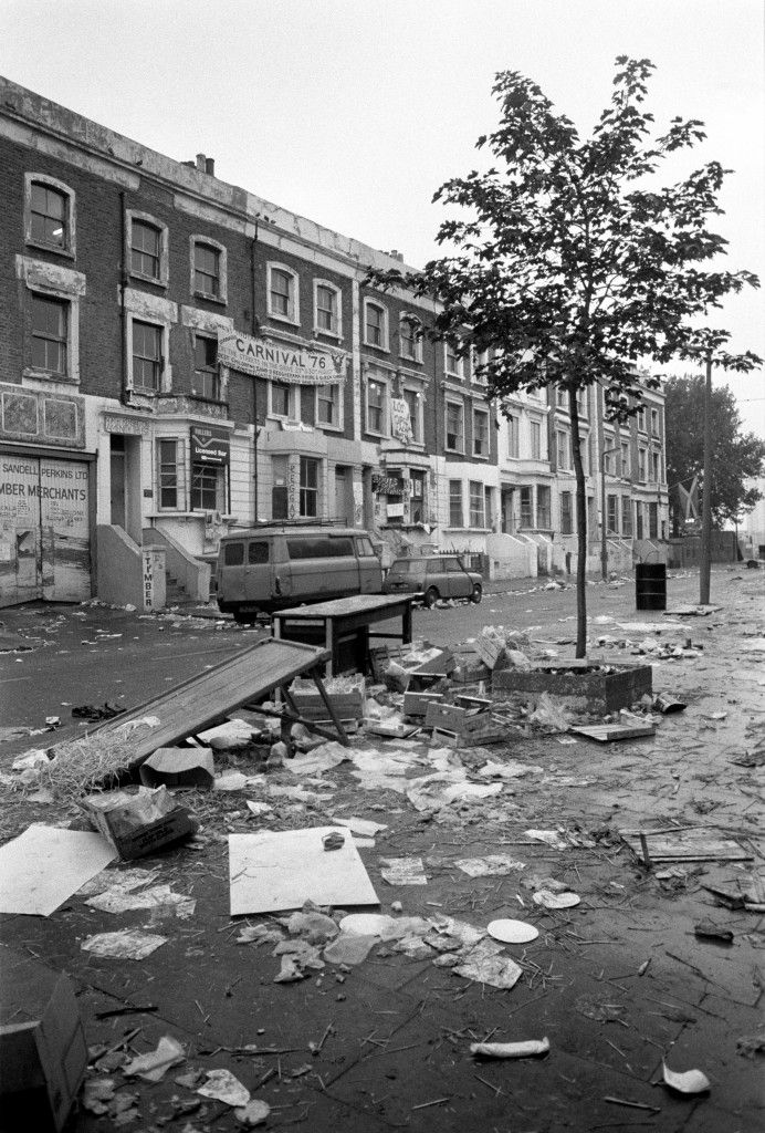 Rubbish is strewn across Acklam Road, West London, following last night's scenes of violence when the Notting Hill West Indian carnival erupted in rioting. Ref #: PA.1416218  Date: 31/08/1976