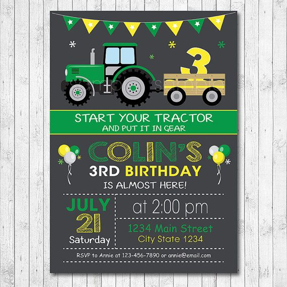 Tractor Birthday Invitation Tractor Invite by funkymushrooms