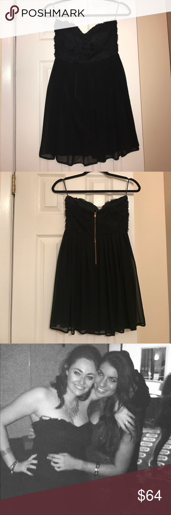 Strapless Black Dress with Flowery Detail on Top Strapless black dress in great condition—worn once! ASOS Dresses Strapless