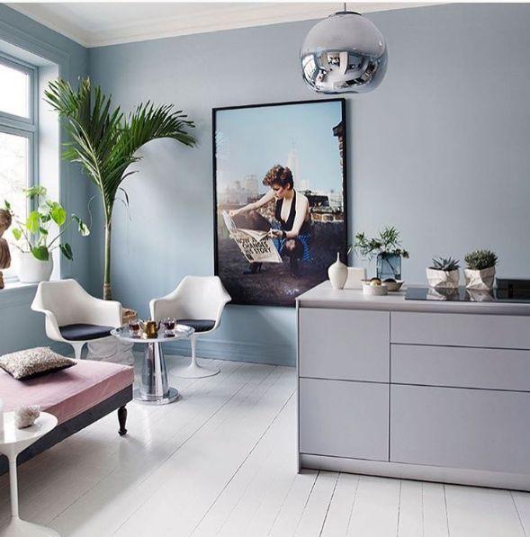 Colour used on wall, 'Polar Blue' in Pure & Original Paint. Classico Chalk Paint. Image credit: Tonekrok,  featured in Bonytt Magazine  Buy this paint online from www.designstudiov.co.uk  #naturalpaint #pureandoriginal #chalkpaint #bluekitchen #kitchen #modernkitchen #interiordesign #design #interior123 #blue #polarblue #vocfree #nontoxic #designstudiov