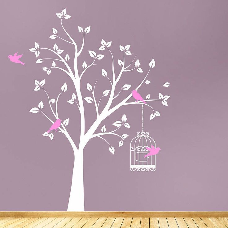 Awesome Tree With Bird Cage Wall Sticker Part 28
