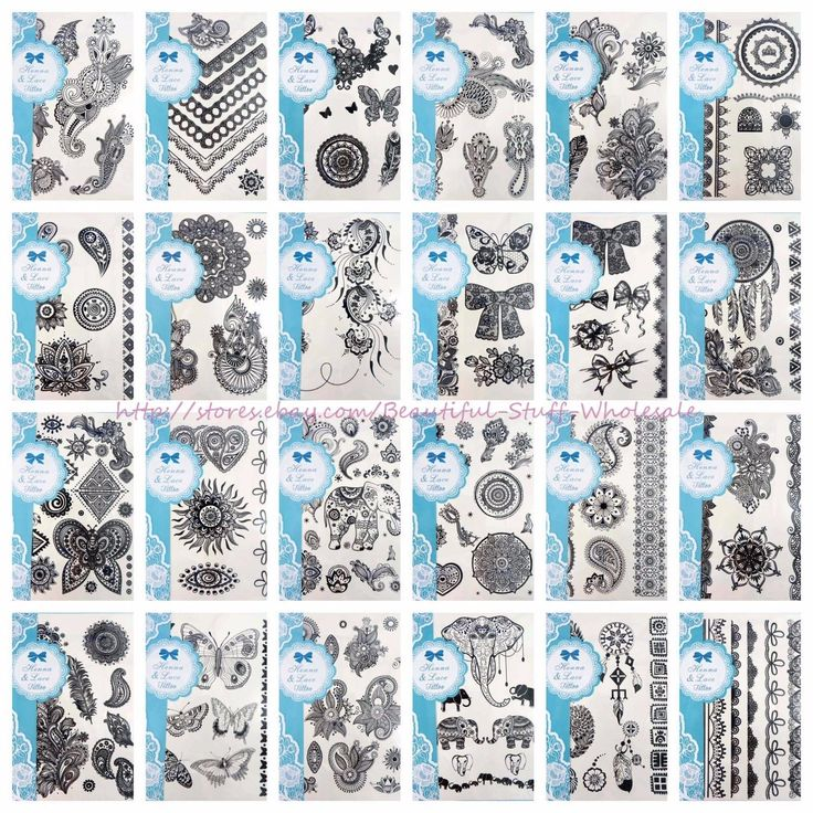 20 Sheets Wholesale Black Lace Henna Tattoo Temporary Tattoos For Adults