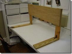DIY wooden bed safety rail...would want to upholster to match headboard