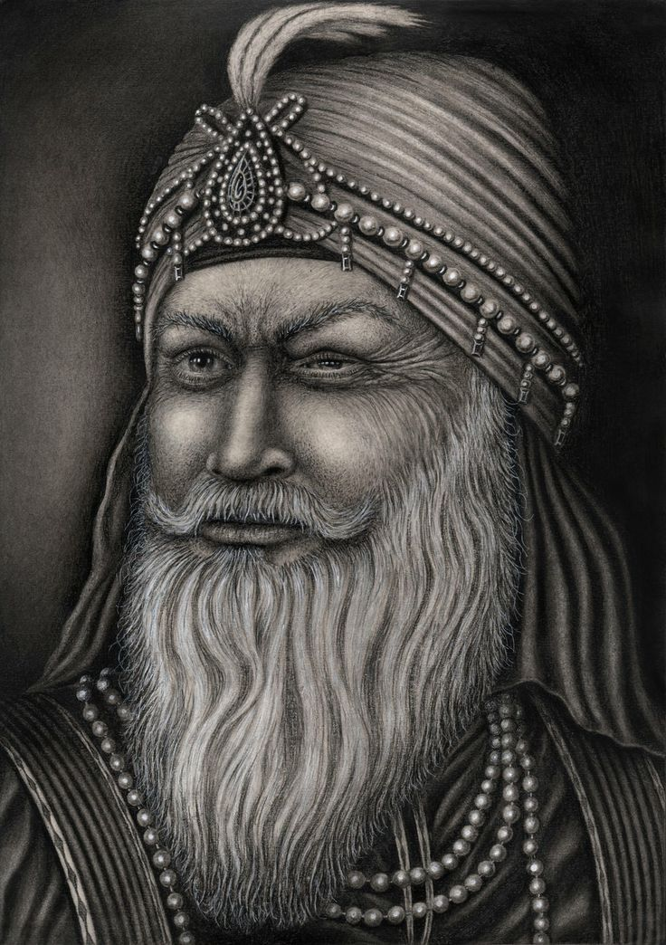 A drawing of 'Maharaja Ranjit Singh' who was known as the Lion of Punjab' and was the last ruling maharaja of the Sikh empire in India. Which is for my 'Sikh art' exhibition in November and he was also the father of 'Maharaja Duleep Singh'. He also suffered from polio when he was younger which left him blind in one eye.  | Sikhpoint.com    #sikhpoint
