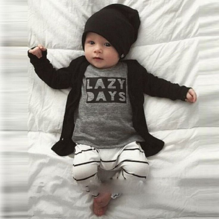 >> Click to Buy << hot style baby wear LAZY printed letters long sleeve T-shirt + striped pants a undertakes two-piece outfit #Affiliate