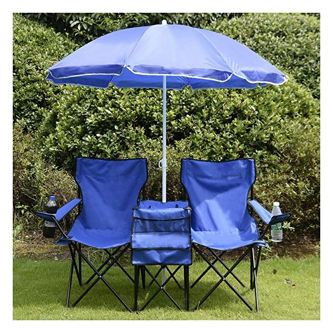 COSTWAY Portable Folding Picnic Double Chair