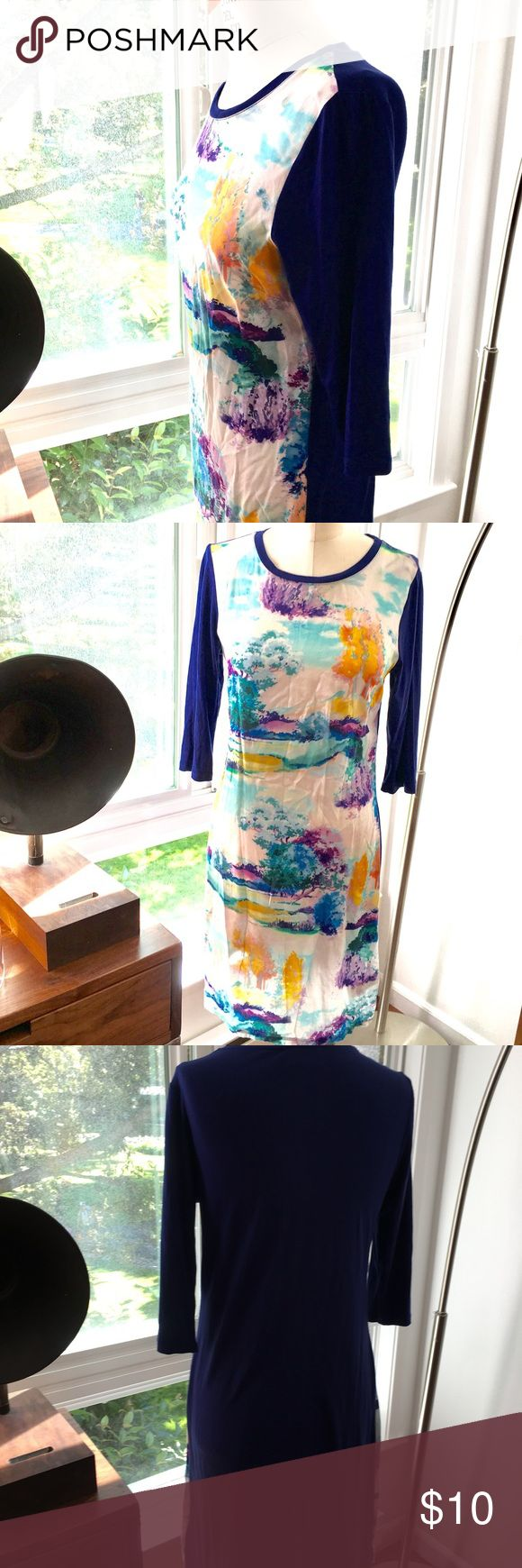 Oliver BONAS jersey dress water color size small Oliver BONAS jersey dress, this is a London based designer Oliver BONAS, the tag is in U.K. Sizing. Size 10 U.K. Is about size small or 2-4. Beautiful painted water color on the front and a pretty deep blue on the back. Oliver Bonas Dresses Midi