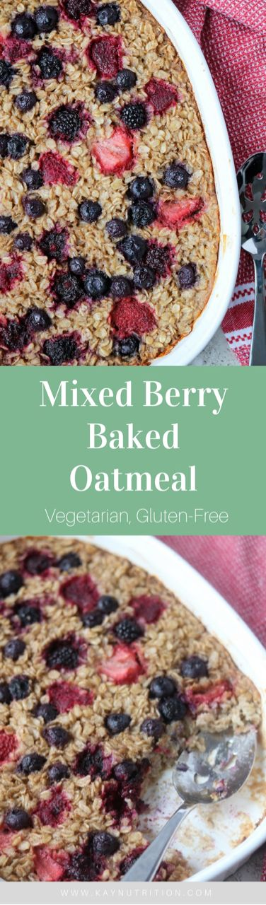 Mixed Berry Baked Oatmeal #glutenfree #vegetarian #mealprep #healthybreakfast #breakfast