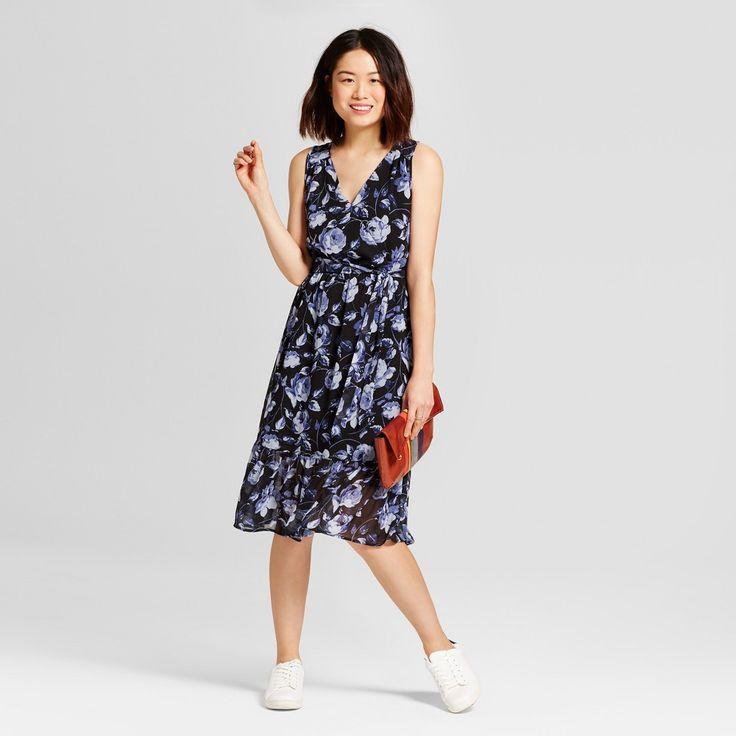 Women's Floral Chiffon Midi Dress - A New Day Blue Xxl