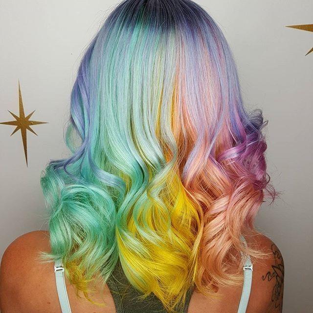 R A I N B O W sherbet  @hairbymisskellyo making unicorn hair dreams come true  #hairspiration
