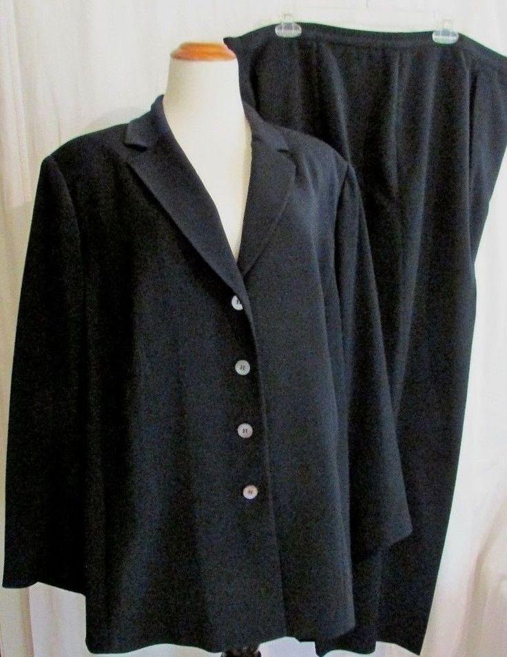 Le Suit Woman Sz 22W Black Pants Suit Long Sleeve 2 Piece Long Sleeve Blazer #LeSuit #PantSuit
