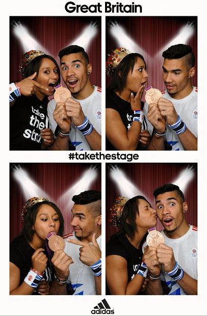 Team GB bronze medal winning gymnast Louis Smith poses with weightlifter Zoe Smith  in the adidas photobooth
