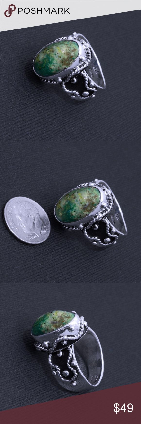 """Sterling Silver and Azurite Ring Stamped """"925"""".  This is not a stock photo. The image is of the actual article that is being sold  Sterling silver is an alloy of silver containing 92.5% by mass of silver and 7.5% by mass of other metals, usually copper. The sterling silver standard has a minimum millesimal fineness of 925.  All my jewelry is solid sterling silver. I do not plate.   Hand crafted in Taxco, Mexico.  Will ship within 2 days of order. Jewelry Rings"""