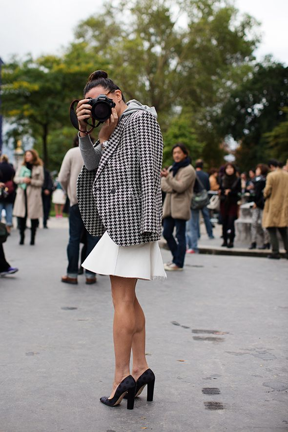 LOVE this outfit! white + houndstooth + polkadot