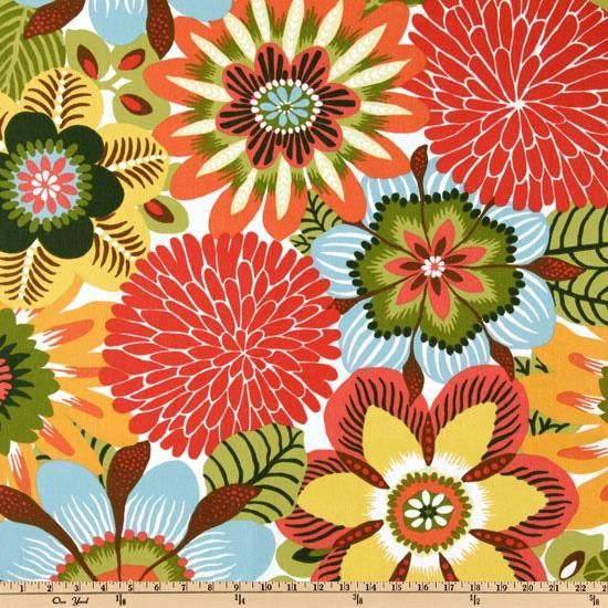 Robert Allen Kiki Pinata from @fabricdotcom  Screen-printed on cotton this medium weight fabric is perfect for window treatments, duvet covers, throw pillows, slipcovers and upholstery. Get creative with tote bags and aprons, too! Colors include sunshine yellow, avocado, kiwi, brown, rust, apricot, crimson and light blue on an ivory background.