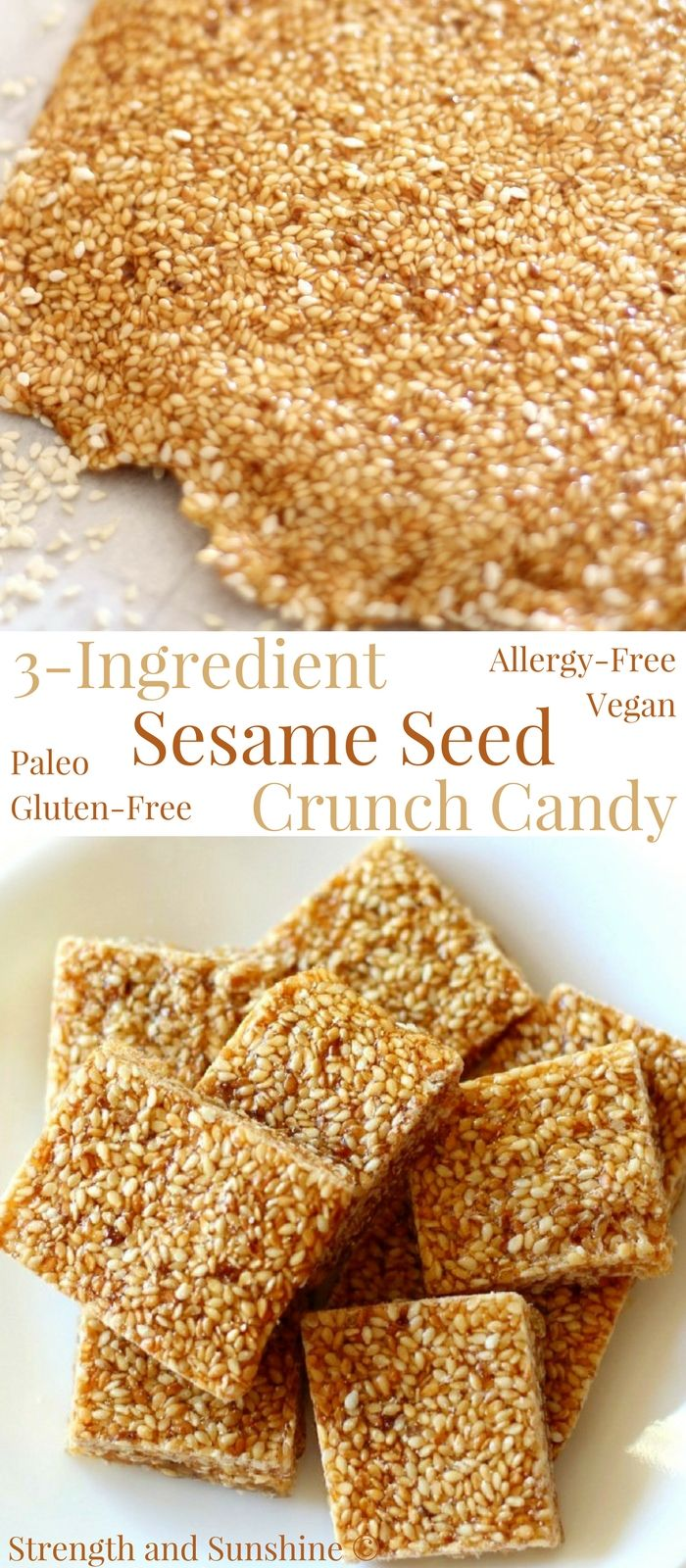 3-Ingredient Sesame Seed Crunch Candy (Gluten-Free)   Strength and Sunshine @RebeccaGF666 A popular candy recipe with many variations throughout Middle Eastern, Mediterranean, Indian, and Asian cuisines. This 3-Ingredient Sesame Seed Crunch Candy is perfectly sweet, nutty, gluten-free, paleo, optionally vegan, and top-8 allergy-free! Just toasted sesame seeds, honey, and sugar! Easy to gift or munch! #sesameseeds #sesamecandy #candy