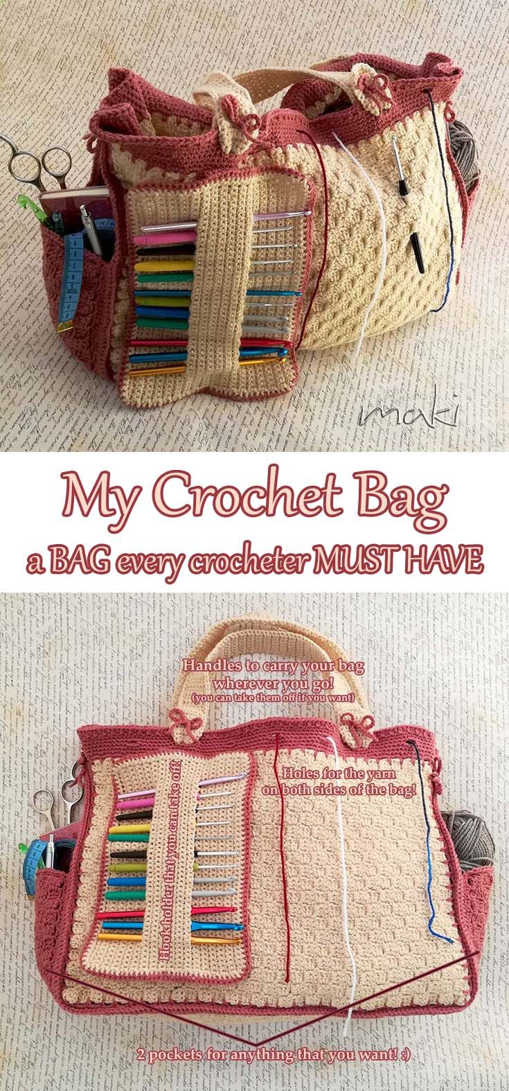 This bag is absolutely fabulous! You will love every part of it! First it is huge! :) If you like to work on blankets you can put in all the yarn you need. I am totally amazed with this bag! It is easy to make and yet so funcional!!! I tell you YOU MUST HAVE IT! :)