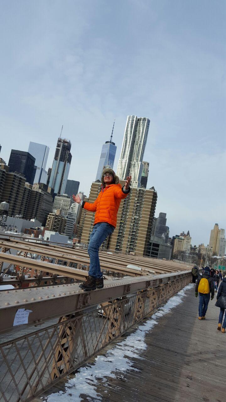 Puente de Brooklyn NY  Manhattan de fondo 💓 Enero 2017