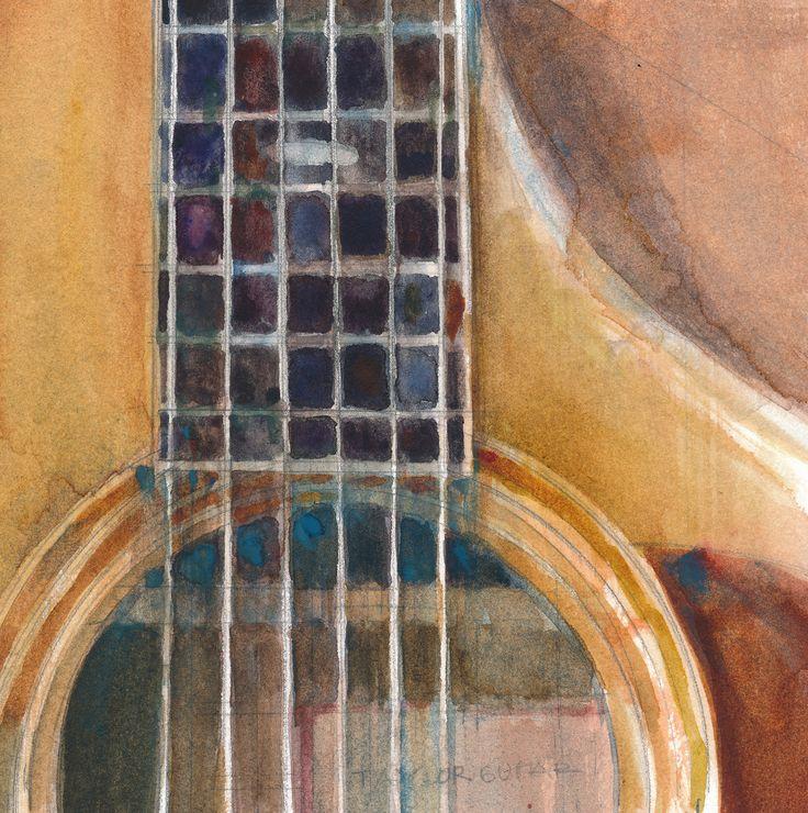 """For Sale: Taylor Guitar Watercolor by Dorrie Rifkin   $250   5""""w 5""""h   Original Art   https://www.vangoart.co/dorrie-rifkin/taylor-guitar-watercolor"""