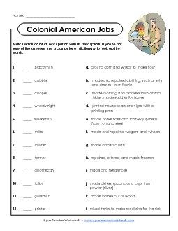 Colonial America Worksheets