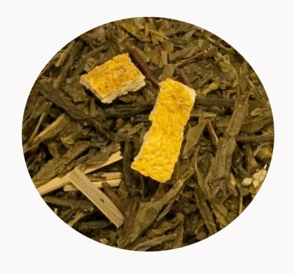 """""""Té Verde Limón y Menta"""" Té verde Sencha con cáscara de limón, lemongrass y menta. 6€ / 100gr."""