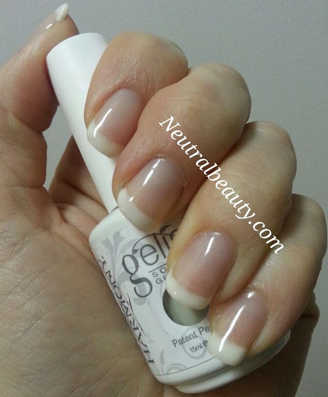This is a version of a French manicure known as the American manicure. I prefer this because it looks more natural. I used Gelish Snow Bunny for the tip. I also used Gelish Bashful for a nude look with a slight shimmer. Repin if you like this look! #affiliate