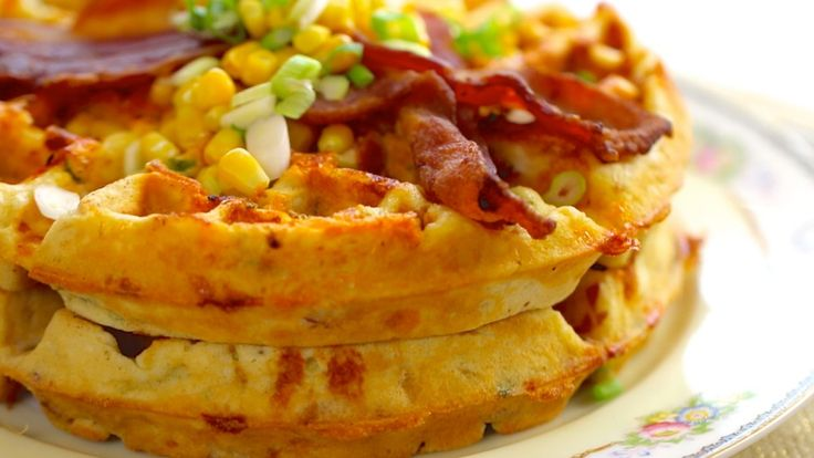 Bacon & Cheddar Cornmeal Waffles ... time to put that new waffle maker to good use!!