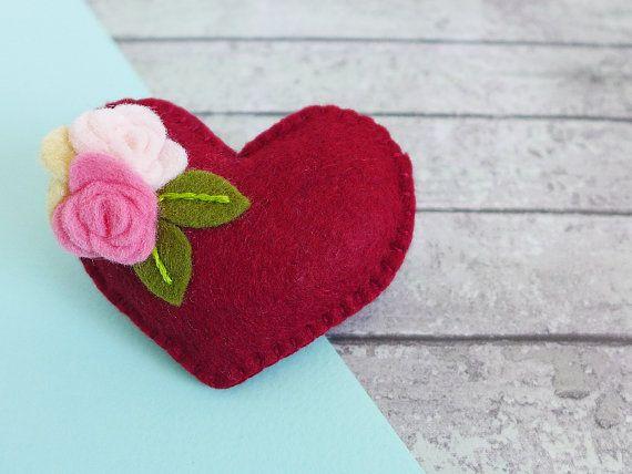 Felt heart brooch  red flower brooch  gift for Mum  gift