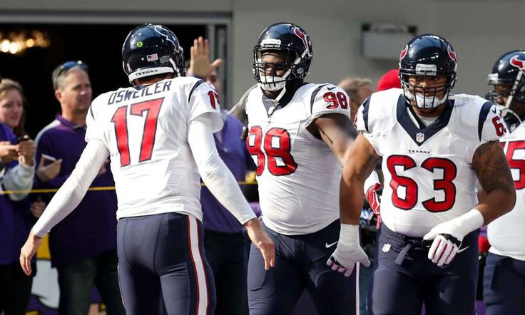Texans vs. Vikings:  October 9, 2016  -  31-13, Vikings.      Houston Texans quarterback Brock Osweiler (17) greets his teammates as they run onto the field before an NFL football game at U.S. Bank Stadium on Sunday, Oct. 9, 2016, in {city. Photo: Brett Coomer, Houston Chronicle / © 2016 Houston Chronicle