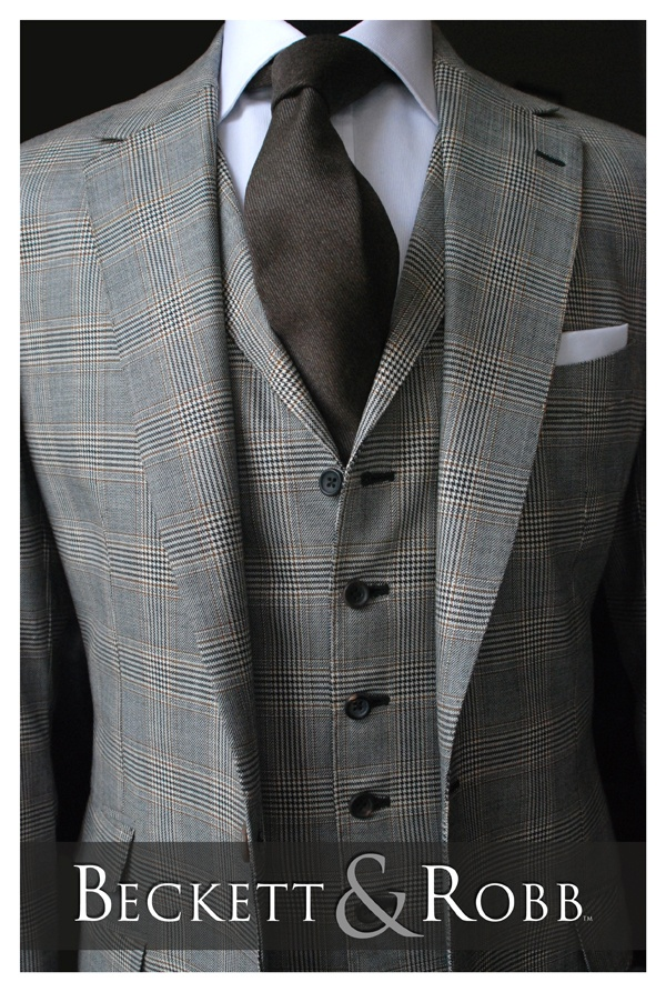 Custom suit, shirt, and necktie by Beckett & Robb.