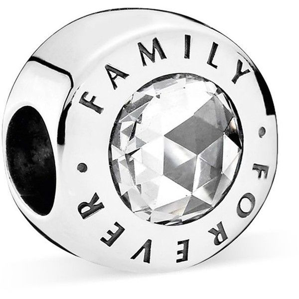 Pandora Charm - Sterling Silver & Cubic Zirconia Family Forever,... ($70) ❤ liked on Polyvore featuring jewelry, pendants, silver, charm jewelry, cz jewellery, pandora jewelry, pandora charms and cz jewelry