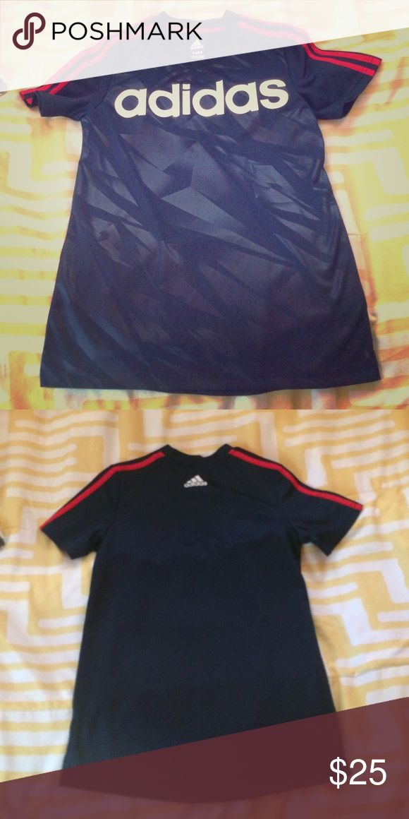 Adidas workout shirt Navy with red strip adidas shirt. New. Never been worn Adidas Tops Tees - Short Sleeve