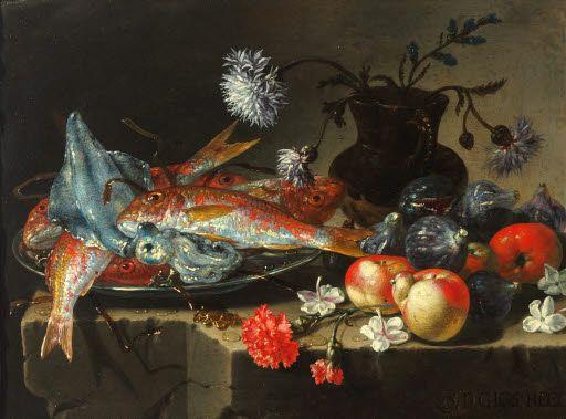 Giuseppe Recco (1634-1695)  - Natura morta con pesci, frutta e fiori  - 2a metà del 17° secolo - Arp Museum Rolandseck Bahnhof (Germania), collezione Rau per l'UNICEF .