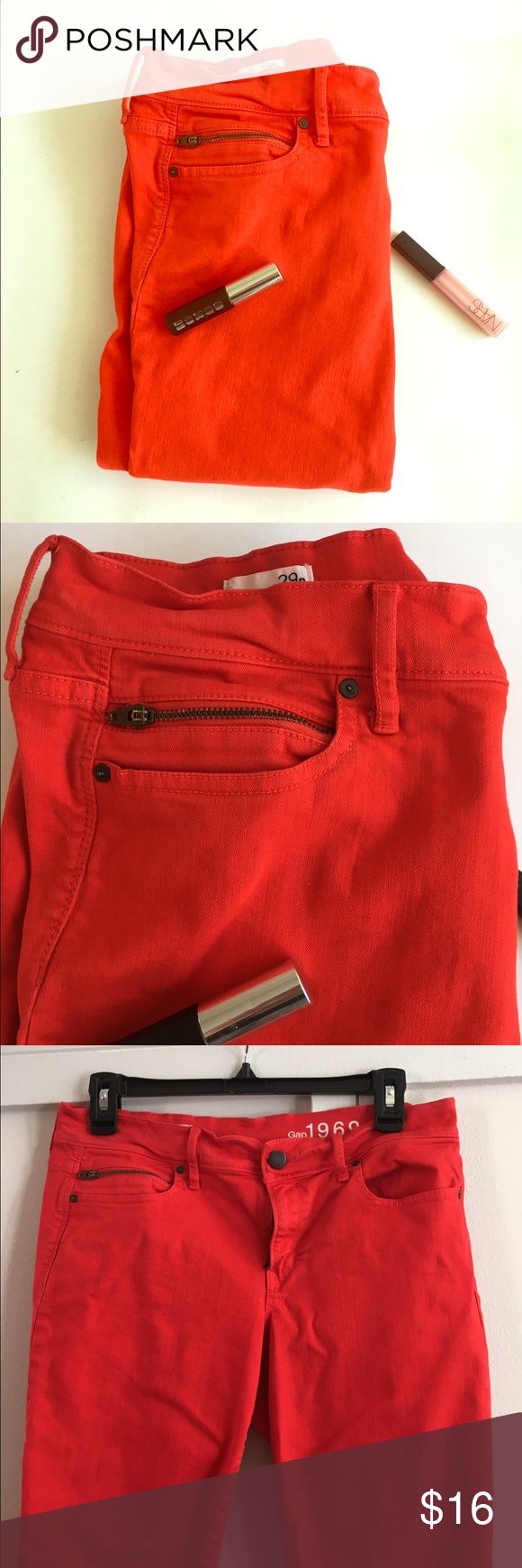 GAP RED LEGGING JEANS Tomato red legging jeans with zippers in pocket and back as shown. Ankle length. A few small spots on the back of each leg as shown. Zipper closure with button. Inseam is 24 inches. Rise is 8.5 inches. GAP Jeans Ankle & Cropped