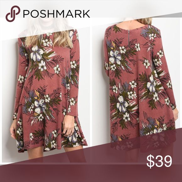 PREORDER Mauve and olive floral dress🌸 Long sleeve floral print swing dress that features a rounded neckline. Dresses