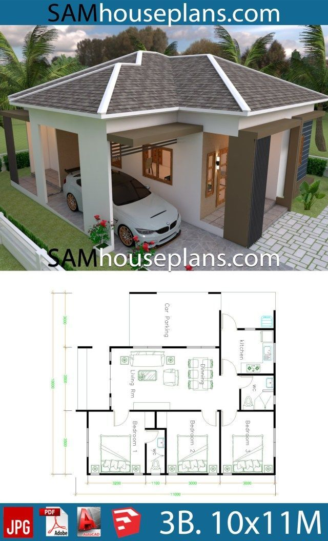House Plans 10x11 With 3 Bedrooms Roof Tiles House Plans 10x11 With 3 Bedrooms Roof Til Little House Plans Small House Design Exterior Small House Design Plans